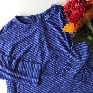 Old Navy Purple Striped Drape Back 3/4 Sleeve